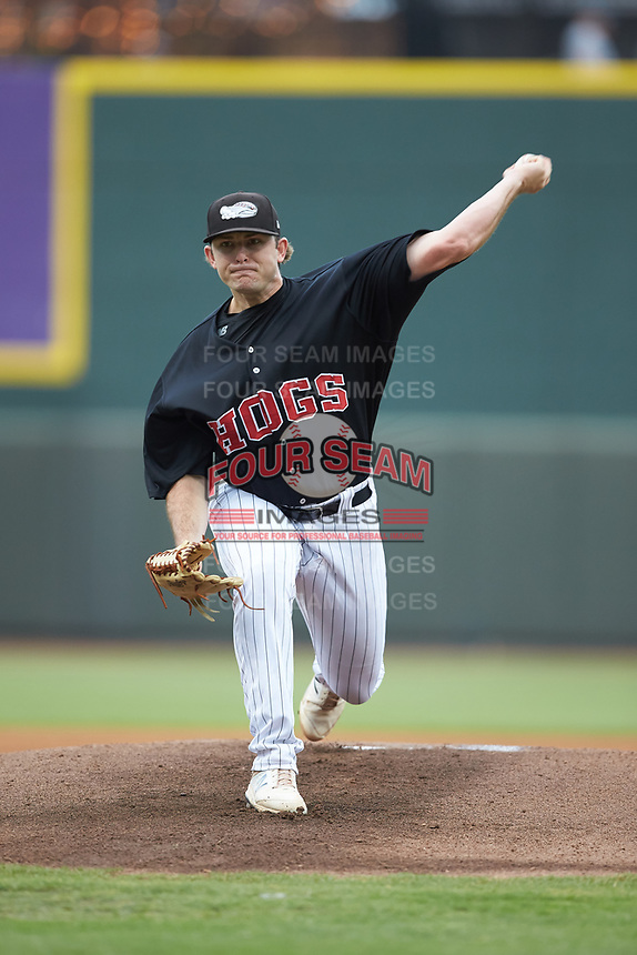 Winston-Salem Warthogs starting pitcher Konnor Pilkington (44) in action against the Wilmington Blue Rocks at BB&T Ballpark on July 17, 2019 in Winston-Salem, North Carolina. The Blue Rocks defeated the Warthogs 4-1. (Brian Westerholt/Four Seam Images)