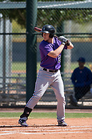 Colorado Rockies third baseman Danny Edgeworth (28) at bat during an Extended Spring Training game against the Chicago Cubs at Sloan Park on April 17, 2018 in Mesa, Arizona. (Zachary Lucy/Four Seam Images)