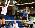 BROOKINGS, SD - SEPTEMBER 4:  Nazya Thies #6 from South Dakota State tries for a kill against Allison Turner #18 from Bradley in their match Sunday afternoon at Frost Arena in Brookings. (Photo by Dave Eggen/Inertia)