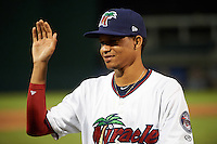 Fort Myers Miracle pitcher Felix Jorge (13) after a game against the Brevard County Manatees on April 13, 2016 at Hammond Stadium in Fort Myers, Florida.  Fort Myers defeated Brevard County 3-0.  (Mike Janes/Four Seam Images)