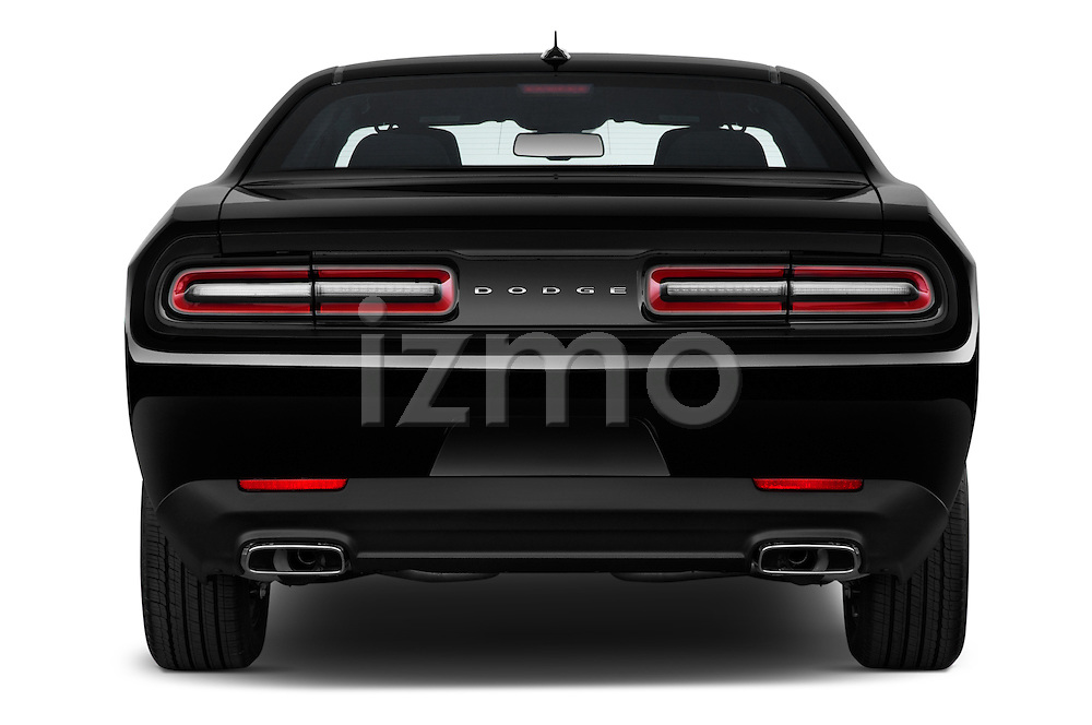 Straight rear view of 2017 Dodge Challenger SXT 2 Door Coupe Rear View  stock images