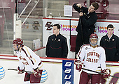 Brooks Dyroff (BC - 14), Tom Maguire (BC - Senior Manager), Kevin Pratt (BC - Manager), Quinn Smith (BC - 27), Matt Malloy (BC - Manager) - The Boston College Eagles tied the visiting Yale University Bulldogs 3-3 on Friday, January 4, 2013, at Kelley Rink in Conte Forum in Chestnut Hill, Massachusetts.