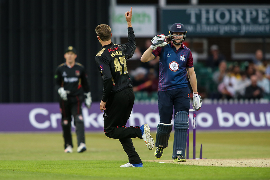 Leicestershire's Matt Pillans celebrates taking the wicket of Northamptonshire's Alex Wakely <br /> <br /> Photographer Andrew Kearns/CameraSport<br /> <br /> NatWest T20 Blast - Leicestershire Foxes vs Northamptonshire Steelbacks - Friday 21st July 2017 - Grace Road Leicester <br /> <br /> World Copyright &copy; 2017 CameraSport. All rights reserved. 43 Linden Ave. Countesthorpe. Leicester. England. LE8 5PG - Tel: +44 (0) 116 277 4147 - admin@camerasport.com - www.camerasport.com