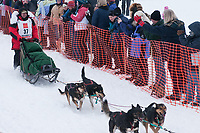 Cim Smyth team leaves the start line during the restart day of Iditarod 2009 in Willow, Alaska