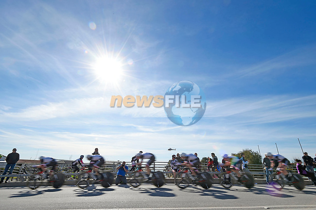 Team Sunweb in action during the 1st stage of the race of the two seas, 52nd Tirreno-Adriatico by NamedSport a 22.7km Team Time Trial around Lido di Camaiore, Italy. 8th March 2017.<br /> Picture: La Presse/Fabio Ferrari | Cyclefile<br /> <br /> <br /> All photos usage must carry mandatory copyright credit (&copy; Cyclefile | La Presse)