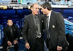 Getafe's Second Coach Raul Longhi (c) and the Principal Coach Victor Munoz (l) and Real Madrid's Juande Ramos (r) during La Liga match.April 21 2009. (ALTERPHOTOS/Acero).