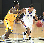Southwestern Illinois College hosted the Jefferson Community and Technical College in an afternoon game on Saturday at the home of the Blue Storm. SWIC's De'Antae McMurray (4, right) dribbles the ball past Jefferson's Dominique Davis (4).