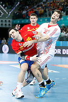 Spain and Croatia during 23rd Men's Handball World Championship preliminary round match, in the pic: Carlos Ruesga Pasarin and Damir Bicanic. January 19 ,2013. (ALTERPHOTOS/Caro Marin) /NortePhoto