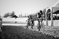 teammates Ellen Van Loy (BEL/Telenet-Fidea) &amp; Jolien Verschueren (BEL/Telenet-Fidea) fighting for 2nd in the long sand stroke<br /> <br /> Elite Women's Race<br /> Soudal Jaarmarktcross Niel 2016