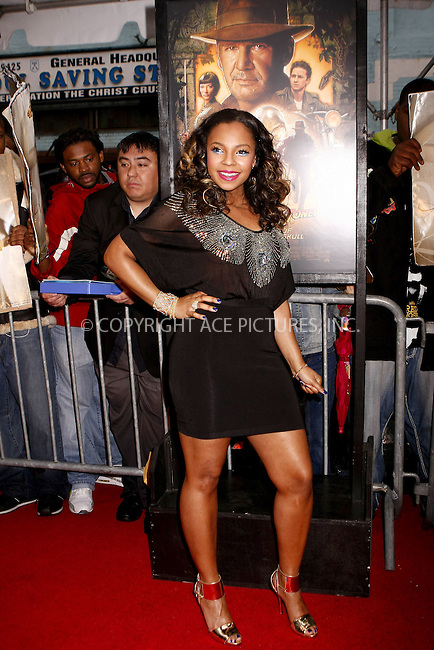 WWW.ACEPIXS.COM . . . . .  ....May 20, 2008. New York City.....Singer Ashanti arrives at the 'Indiana Jones and the Kingdom of the Crystal Skull' Premiere held at the AMC Magic Johnson Harlem 9.......Please byline: AJ Sokalner - ACEPIXS.COM.... *** ***..Ace Pictures, Inc:  ..Philip Vaughan (646) 769 0430..e-mail: info@acepixs.com..web: http://www.acepixs.com