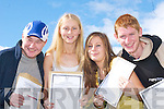 CELEBRATING: Daniel Anderson, Kilcummin, Aoife OConnell, Killarney, Stacey OLeary and Neil OLeary, Kilcummin, get ready to party after receiving their Leaving Cert results at Killarney Community College on Wednesday..