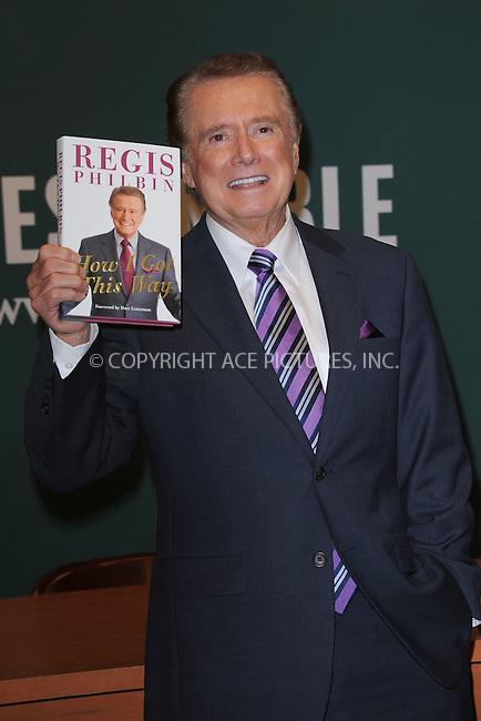 "WWW.ACEPIXS.COM . . . . . .November 15, 2011, New York City.....Regis Philbin signs copies of ""How I Got This Way"" at Barnes and Noble Fifth Avenue November 15, 2011 in New York City. . ..Please byline: KRISTIN CALLAHAN - ACEPIXS.COM.. . . . . . ..Ace Pictures, Inc: ..tel: (212) 243 8787 or (646) 769 0430..e-mail: info@acepixs.com..web: http://www.acepixs.com ."