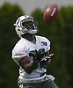 Romar Morris #30, New York Jets running back, fields a punt during the first day of offseason training activity at the Atlantic Health Jets Training Center in Florham Park, NJ on Tuesday, May 23, 2017.