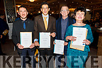 Hubert Servignat, Giuseppe Giordano, Seán Máritín Báceír (West Kerry) and Ruth Walsh (Listowel) Receiving their Certificates at the Presentation of Certificate Ceremony by the Kerry College, Monavalley Campus in the Rose Hotel on Thursday night.