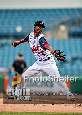 22 July 2018: Syracuse SkyChiefs pitcher Phillips Valdez on the mound against the Louisville Bats at NBT Bank Stadium in Syracuse, NY. The Bats defeated the Chiefs 3-1 in AAA International League play. Mandatory Credit: Ed Wolfstein Photo *** RAW (NEF) Image File Available ***