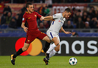 Chelsea s Eden Hazard, right, is challenged by Roma s Alessandro Florenzi during the Champions League Group C soccer match between Roma and Chelsea at Rome's Olympic stadium, October 31, 2017.<br /> UPDATE IMAGES PRESS/Riccardo De Luca