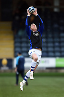 James Wilson of Bath Rugby catches a high ball during the pre-match warm-up. Gallagher Premiership match, between Worcester Warriors and Bath Rugby on January 5, 2019 at Sixways Stadium in Worcester, England. Photo by: Patrick Khachfe / Onside Images