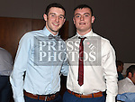 Kevin Carr and Conor Farrell pictured at the Newtown Blues dinner dance in the Westcourt hotel. Photo:Colin Bell/pressphotos.ie