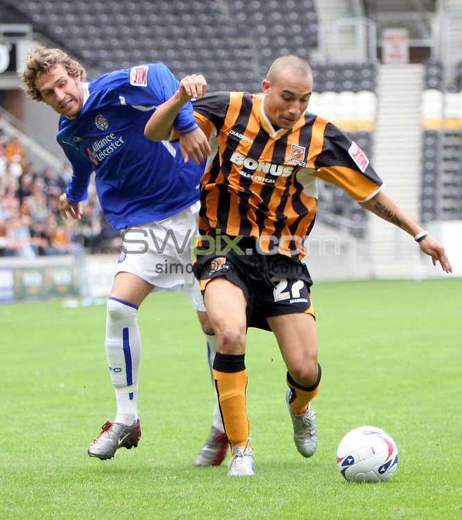 Pix by Chris Whiteoak/SWpix.com, Football, Coca Cola Championship, Hull City v Leicester City, 29/08/2005..COPYRIGHT PICTURE>> SIMON WILKINSON>> SWPIX.COM>>07811267 706>>..Hull's Craig Fagen battles with Leicester's Gareth Williams