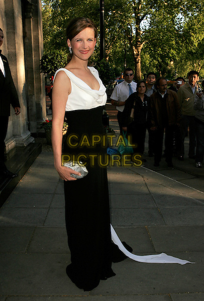 KATIE DERHAM.Arrivals at the Sony Radio Academy Awards, Grosvenor House Hotel, London, England. .April 30th 2007.full length black white dress train silver clutch purse.CAP/AH.©Adam Houghton/Capital Pictures