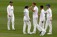 Ben Allison of Essex celebrates taking the wicket of Harry Podmore during Kent CCC vs Essex CCC, Friendly Match Cricket at The Spitfire Ground on 27th July 2020