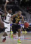 OMAHA, NE -- February 10th, 2016 -- George Marshall #11 of South Dakota State drives down court while being chased by University of Nebraska Omaha's Devin Patterson #3 during their game Wednesday evening at Baxter Arena in Omaha, NE. (Photo By Ty Carlson/Inertia)
