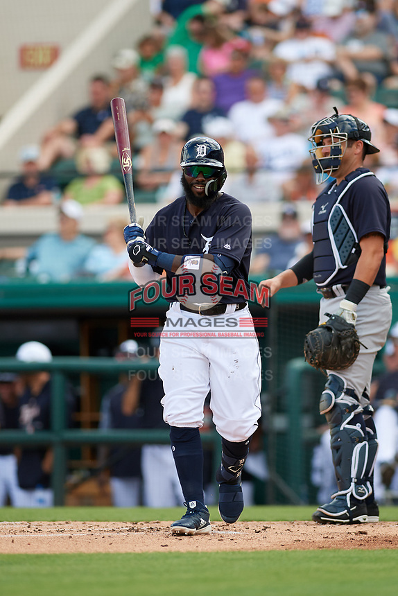Detroit Tigers second baseman Josh Harrison (1) at bat during a Grapefruit League Spring Training game against the New York Yankees on February 27, 2019 at Publix Field at Joker Marchant Stadium in Lakeland, Florida.  Yankees defeated the Tigers 10-4 as the game was called after the sixth inning due to rain.  (Mike Janes/Four Seam Images)