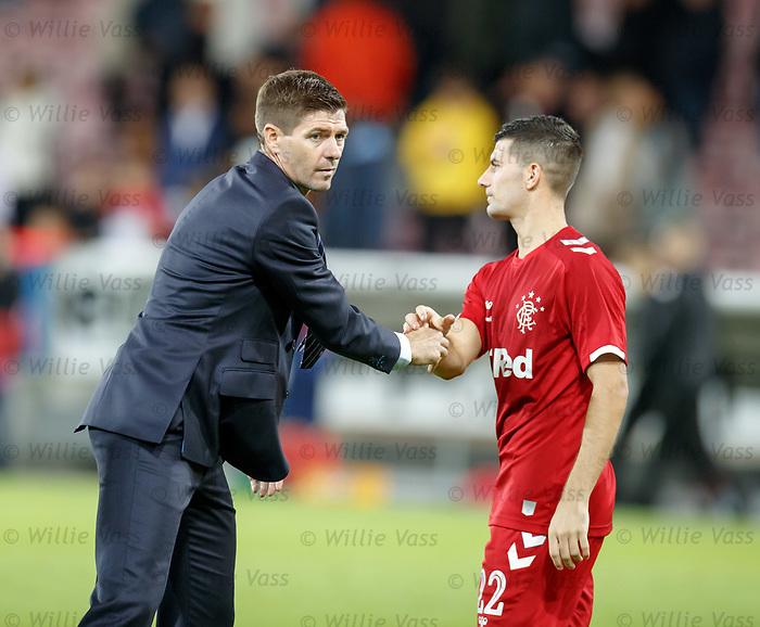 08.08.2019 FC Midtjylland v Rangers: Steven Gerrard and Jordan Jones