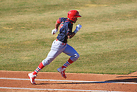 Peoria Chiefs outfielder Magneuris Sierra (19) runs to first during a game against the Wisconsin Timber Rattlers on April 12th, 2015 at Fox Cities Stadium in Appleton, Wisconsin.  Peoria defeated Wisconsin 11-1.  (Brad Krause/Four Seam Images)
