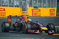 March 14, 2014: Daniel Ricciardo (AUS) from the Infiniti Red Bull Racing team exits turn four during practice session one at the 2014 Australian Formula One Grand Prix at Albert Park, Melbourne, Australia. Photo Sydney Low.
