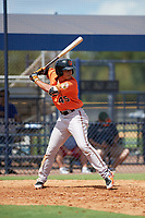 Baltimore Orioles second baseman Alexis Torres (45) at bat during an Instructional League game against the New York Yankees on September 23, 2017 at the Yankees Minor League Complex in Tampa, Florida.  (Mike Janes/Four Seam Images)