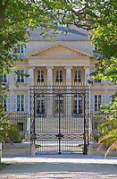 The Chateau Margaux built in 1802 19th century by the architect Combes, with black iron gate Margaux Medoc Bordeaux Gironde Aquitaine France