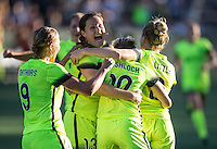 Seattle, WA - Saturday July 23, 2016: Merritt Mathias, Kendall Fletcher, Jessica Fishlock celebrates scoring, Kim Little during a regular season National Women's Soccer League (NWSL) match between the Seattle Reign FC and the Orlando Pride at Memorial Stadium.