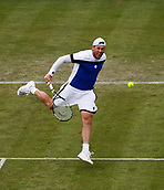 June 12th 2017,  Nottingham, England; WTA Aegon Nottingham Open Tennis Tournament day 3;  8th seed Illya Marchenko of the Ukraine hits a drop shot against qualifier Liam Broady of the UK