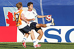 06 July 2007: USA's Sal Zizzo (right), pregame. The Under-20 Men's National Team of the United States defeated Brazil's Under-20 Men's National Team 2-1 in a Group D opening round match at Frank Clair Stadium in Ottawa, Ontario, Canada during the FIFA U-20 World Cup Canada 2007 tournament.