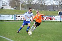 "VOETBAL: BALK: Voetbalcomplex ""de Wilgen"", 27-04-2013, KNVB 1ste Klasse E district Noord, VV Balk -VV Drachtster Boys, Einduitslag 1-2, Rene Geertsma (#10 | Balk), Richard Hamstra (#2 | DB), ©foto Martin de Jong"