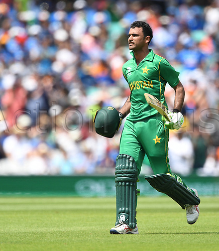 June 18th 2017, The Kia Oval, London, England;  ICC Champions Trophy Cricket Final; India versus Pakistan; Fakhar Zaman of Pakistan celebrates his maiden ODI century