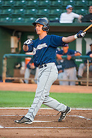 Steven Karkenny (31) of the Helena Brewers at bat against the Ogden Raptors in Pioneer League action at Lindquist Field on August 19, 2015 in Ogden, Utah. Ogden defeated Helena 4-2.  (Stephen Smith/Four Seam Images)