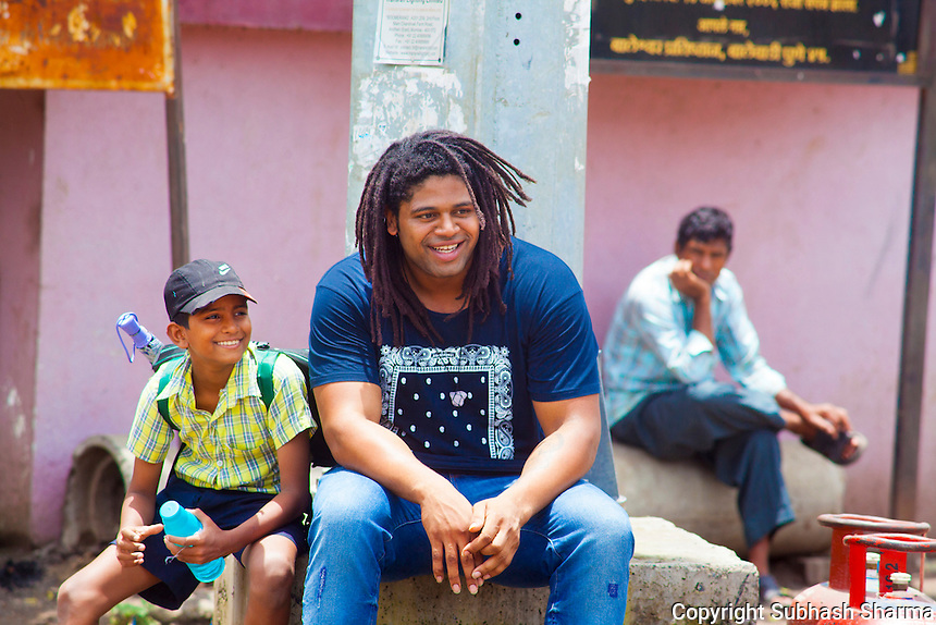 14 July 2016 - Pune - INDIA.<br /> Jamal Idris explores the streets of Balewadi village at Pune.<br /> <br /> (Subhash Sharma for the Sunday Telegraph)