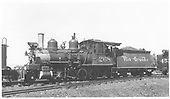 3/4 fireman's-side view of D&amp;RGW #268 at Gunnison.<br /> D&amp;RGW  Gunnison, CO  Taken by Maxwell, John W. - 8/31/1941