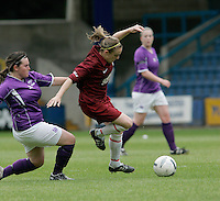09 MAY 2007 - LONDON, UK - Jennifer Anslow - Loughborough University (Maroon) v Brighton University (Purple) - BUSA Womens Football Championships. (PHOTO (C) NIGEL FARROW)