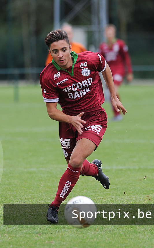 20150905 - WAREGEM , BELGIUM : Waregem 's Esad Guler pictured during the Under 19 ELITE soccer match between SV Zulte Waregem and KVC Westerlo U19 , on the fourth matchday in the -19 Elite competition. Wednesday 5 September 2015. PHOTO DAVID CATRY