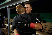 Batavia Muckdogs Nic Ready (3) celebrates with athletic trainer Jordan Wheat after hitting a home run during a NY-Penn League Semifinal Playoff game against the Lowell Spinners on September 4, 2019 at Dwyer Stadium in Batavia, New York.  Batavia defeated Lowell 4-1.  (Mike Janes/Four Seam Images)