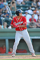 First baseman Damek Tomscha (14) of the Lakewood BlueClaws bats in a game against the Greenville Drive on Thursday, June 23, 2016, at Fluor Field at the West End in Greenville, South Carolina. Lakewood won, 8-7. (Tom Priddy/Four Seam Images)
