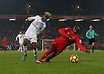 Didier Ndong of Sunderland brings down Sadio Mane of Liverpool to concede a last minute penalty during the Premier League match at the Anfield Stadium, Liverpool. Picture date: November 26th, 2016. Pic Simon Bellis/Sportimage