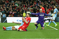 James Milner of Liverpool (2nd left) looks dejected after missing a good opportunity to equalise during the Capital One Cup match between Liverpool and Manchester City at Wembley Stadium, London, England on 28 February 2016. Photo by David Horn / PRiME Media Images.
