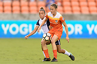 Houston, TX - Saturday July 15, 2017: Mallory Pugh and Janine Beckie during a regular season National Women's Soccer League (NWSL) match between the Houston Dash and the Washington Spirit at BBVA Compass Stadium.