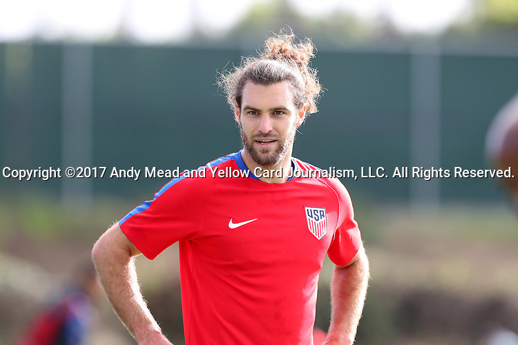11 January 2017: Graham Zusi. The United States Men's National Team held their first training session under new head coach Bruce Arena on The Murphy Family Field at the StubHub Center in Carson, California.