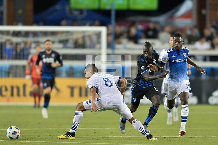 San Jose, CA - Wednesday August 29, 2018: Dominic Oduro during a Major League Soccer (MLS) match between the San Jose Earthquakes and FC Dallas at Avaya Stadium.