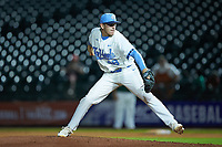 North Carolina Tar Heels relief pitcher Rodney Hutchison Jr. (48) in action against the Miami Hurricanes in the second semifinal of the 2017 ACC Baseball Championship at Louisville Slugger Field on May 27, 2017 in Louisville, Kentucky. The Tar Heels defeated the Hurricanes 12-4. (Brian Westerholt/Four Seam Images)